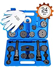 OMT 24pcs Heavy Duty Disc Brake Piston Caliper Compressor Rewind Tool Set and Wind Back Tool Kit, for Brake Pad Replacement Reset, Fits Most American, European, Japanese Autos