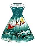 UNIFACO Women's Christmas Party Dress Sleeveless Santa Claus Print Flared Cocktail Dress Plus Size Xmas Gift Green