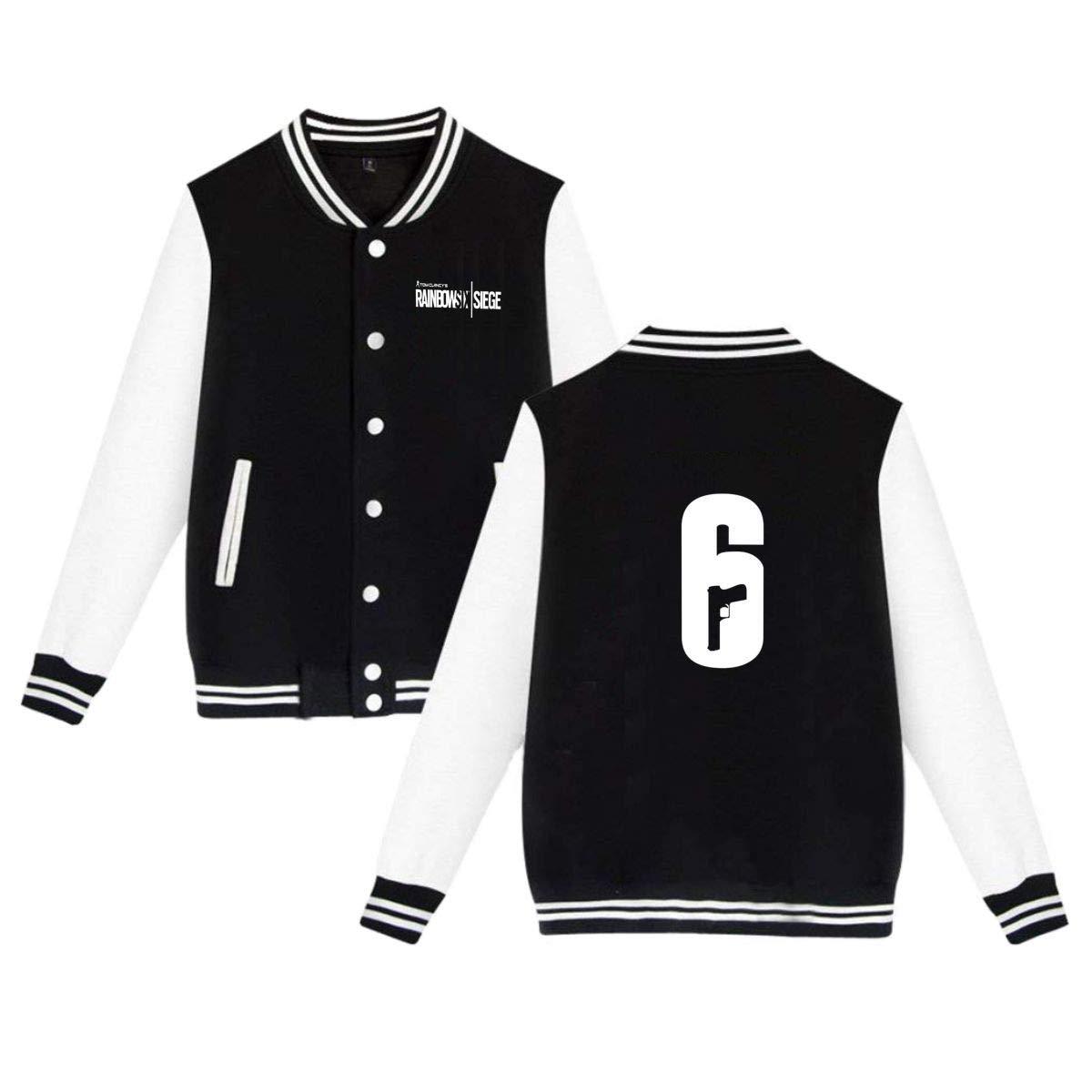 NEST-Homer Unisex Rainbow Six Siege Logo Velvet Baseball Uniform Jacket Coat Sweater Sweatshirt