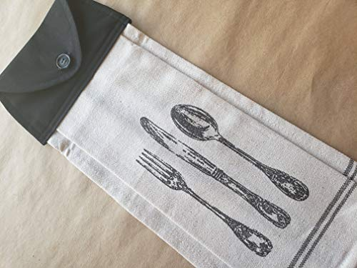 Silverware Hanging Flour Sack Kitchen Towel Button Top Oven Door Dish Towel Spoon Knife Fork Handmade Cutlery Themed Neutral Kitchen Linens Hostess Housewarming Gifts Under 20