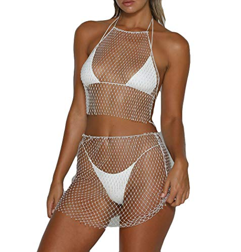 Women's Sexy Rhinestone See Through Mesh Fishnet Hollow Out Split Babydoll Lingerie (One Size, Under White)
