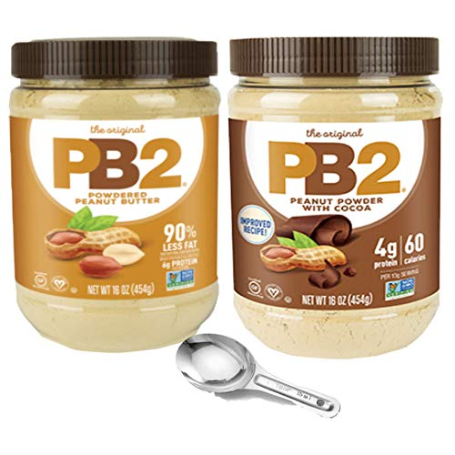 - Bell Plantation PB2 Powdered Peanut Butter and PB2 with Premium Chocolate 1 Of Each Flavor Pack of 2 1 LB with free Measuring Spoon