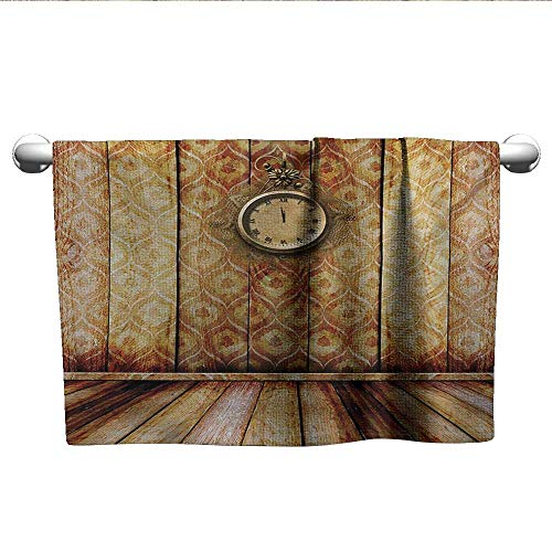 (Bensonsve Floral Hand Towels Victorian,Antique Clock on Medieval Style Wall Wooden Floor Classic Architecture Theme Art,Beige Brown,Towel Shelf for Bathroom)