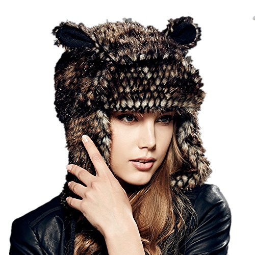 Kenmont Winter Warm Women Lady Earflap Outdoor Animal Bomber Aviator Hat Ski Cap