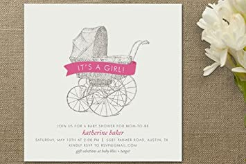 Amazon Com Vintage Carriage Baby Shower Invitations By Palm P
