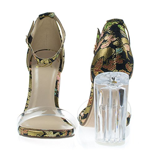 Sandalo In Perspex Trasparente Con Tacco A Punta Ricamato, Cinturino Trasparente Nero Phoenix