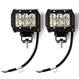 Hausbell 18W Waterproof Off-road Flood Light LED with Mounting Brackets Black