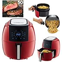 GoWISE USA 5.8-Quart Programmable 8-in-1 XL Air Fryer with Recipe Book (Chili Red)