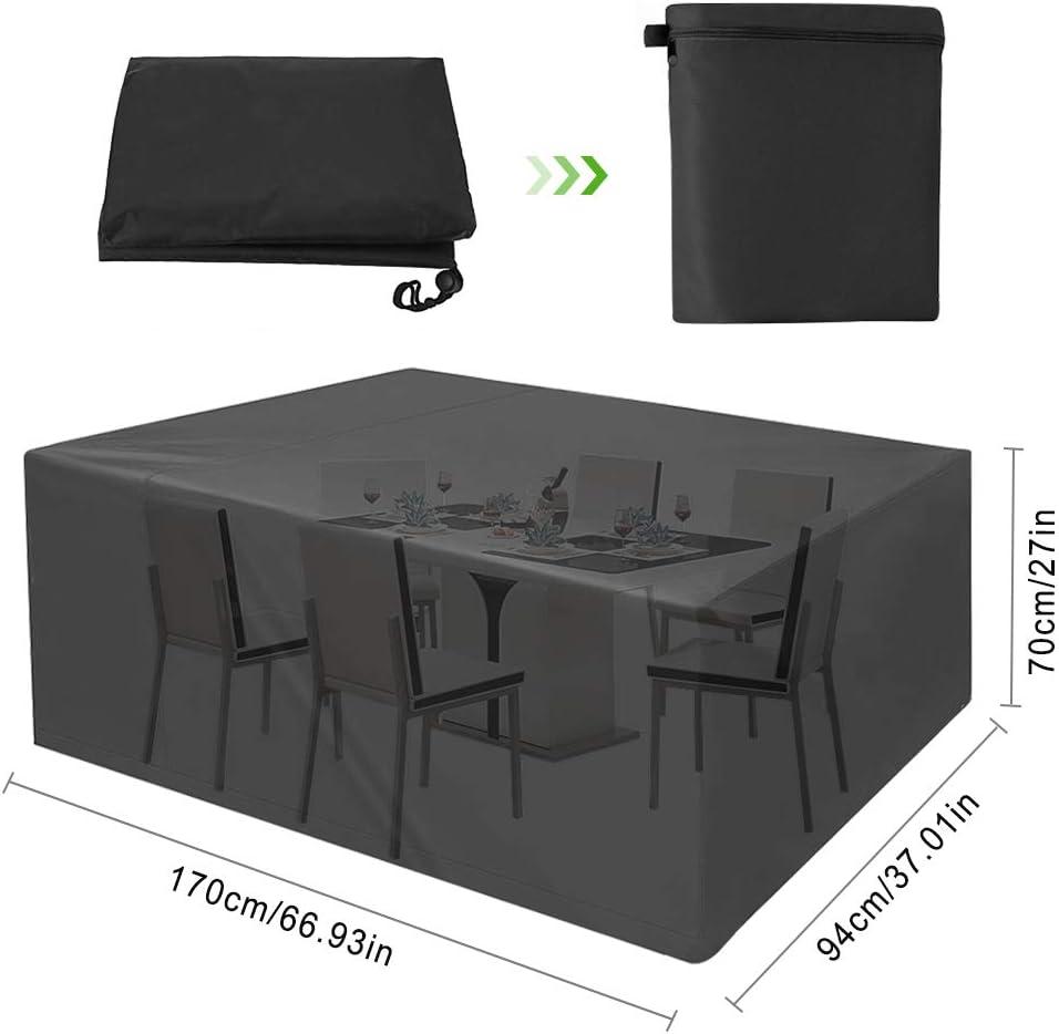 phixilin Copertura Mobili Giardino 250 * 210 * 90 cm Nero Impermeabile Telo Copertura per Giardino Mobili Tabella 420D Oxford con Rivestimento PU Copri Coperture per Arredo Esterno Coperture