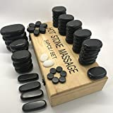 Gotfaster 54 Pcs Professional Massage Stones Natural Lava Basalt Hot Stone for Spa, Massage Therapy
