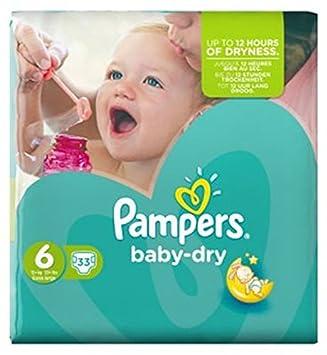 Pampers Baby Dry Talla 6 (Extra Grande) Paquete De 33 Pañales Esencial