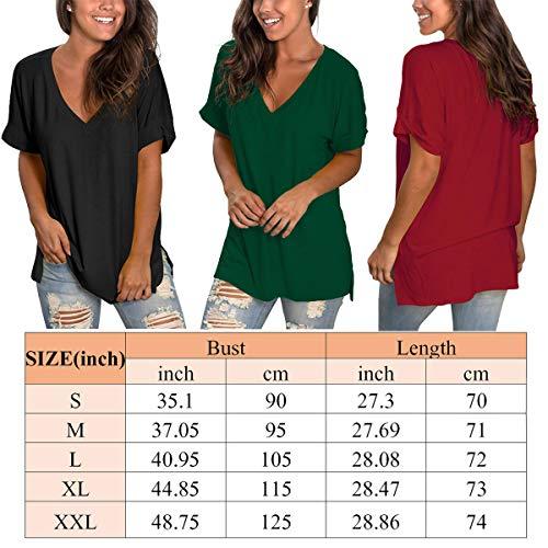 Women T Shirts Short Sleeve V Neck Loose Casual Basic Tee Tops Summer TShirt