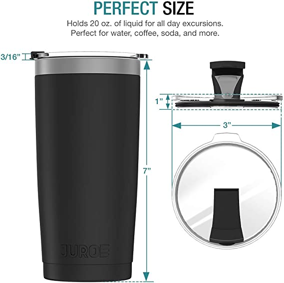 Juro Tumbler 20 oz Stainless Steel Vacuum Insulated Tumbler with Lids and Straw [Travel Mug] Double Wall Water Coffee Cup for Home, Office, Outdoor