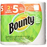 Bounty Paper Towels, White, 2 Huge Rolls = 5 Regular Rolls, 2 Count