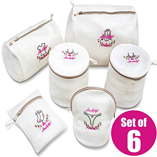 2 Pack Bra Wash Bags with Bounus 4 Set of Laundry Bags, Durable Washing bags, Delicate Lingerie Wash bag, Beautiful Embroidery, Smoother Zipper, Two Mesh -
