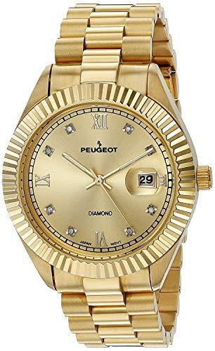 - Peugeot 14K Gold Plated Diamond Luxury Calendar Dress Watch with Fluted Bezel