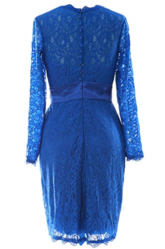MACloth Women Long Sleeve Lace Short Cocktail Dress Wedding Party Evening Gown Negro