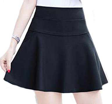 Unko Womens Casual Pockets Slim Fit High Waist Flared Skirts Black X-Small