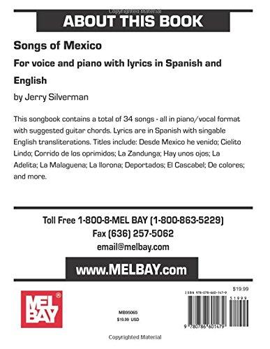Mel Bay Songs Of Mexico Jerry Silverman 9780786601479 Amazon