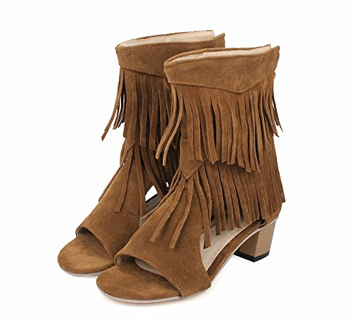 Charm Foot Womens High Top Tassels Open Toe Sandal Summer Boots Brown jOobknKIg