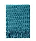 Bourina Throw Blanket Textured Solid Soft Sofa Couch Decorative Knitted Blanket, 50'' x 60'',Teal