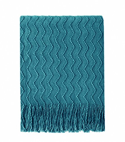 - Bourina Throw Blanket Textured Solid Soft Sofa Couch Decorative Knitted Blanket, 50