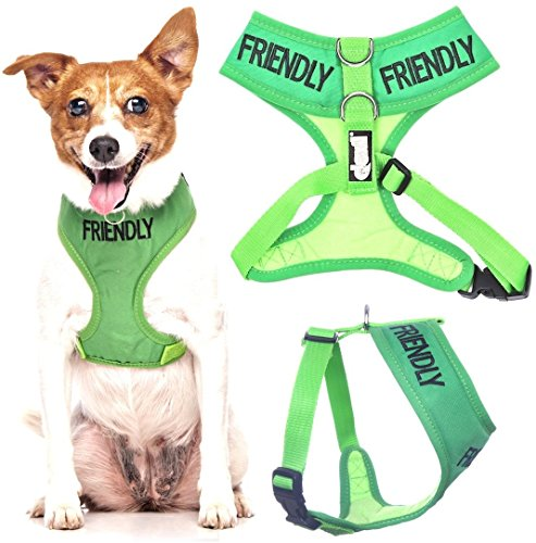 Friendly Green Color Coded Waterproof Padded Adjustable Non Pull Front and Back Ring Small Vest Dog Harness Prevents Accidents By Warning Others of Your Dog in Advance (Bib Friendly)