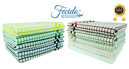Fecido Classic Kitchen Dish Towels with Hanging Loop - Set of 4, Dark Green
