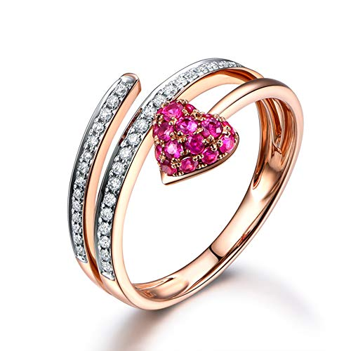18K Rose Gold Ruby and Diamond Ring Eternal Love Heart-Shaped Luxury Jewelry for Women Girl Romantic Statement Wedding & Engagemen Jewellery with Gift Box,V1/2 ()