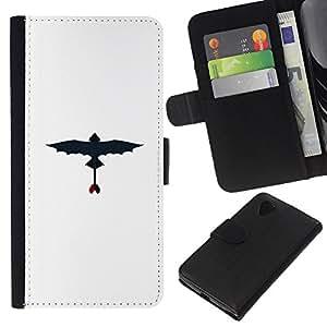 NEECELL GIFT forCITY // Billetera de cuero Caso Cubierta de protección Carcasa / Leather Wallet Case for LG Nexus 5 D820 D821 // Dragon volador