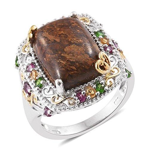 Goldflake Feldspar Multi Gemstone 14K YG and Platinum Plated Sterling Silver Ring Size 7 (14k Yg Gemstone Multi)