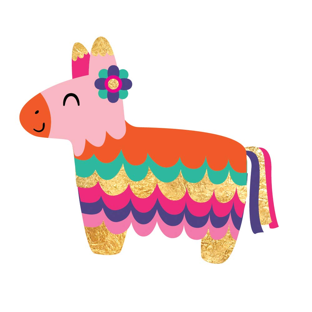 Fiesta Pinata set of 25 premium waterproof metallic foil colorful temporary fiesta inspired Flash Tattoos - Party Favors, Party Supplies, pinata, cinco de mayo, fiesta, donkey