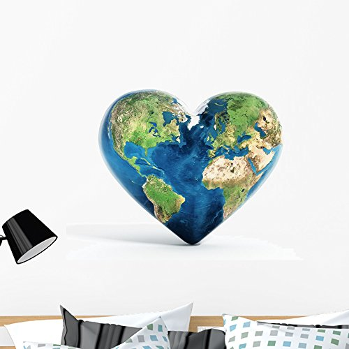 Wallmonkeys Heart Shaped Earth Wall Decal Peel and Stick Graphic (36 in W x 27 in H) WM363089
