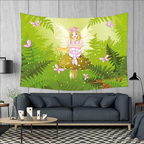 smallbeefly Nursery Tapestry Wall Tapestry Magic Fairy Girl with Floral Hairstyle in Green Forest Pink Butterflies Art Wall Decor 60