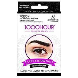 1000 Hour Eyelash & Brow Dye/Tint Kit Permanent Mascara (Black) [Packaging May Vary]