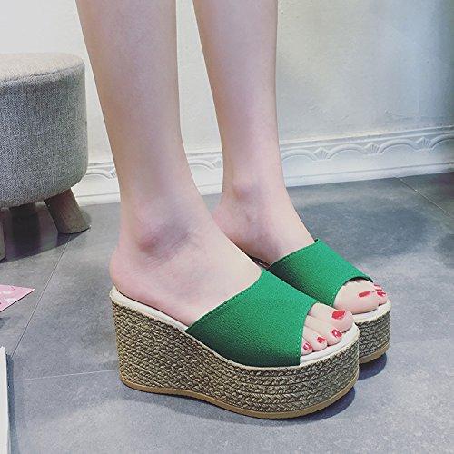 Donyyyy Einfache und Reine Farbe Typ Sandalen Sandalen Verschlissen  Rice white (Pian Xiaoma)|Thirty-seven