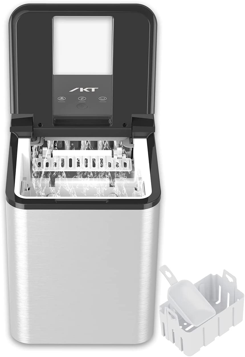 IKT Ice Maker, Counter Top Ice Making Machine with Ice Scoop and Bucket, 9 Ice Cubes Ready in 8 minutes, Makes 26.5 lbs in 24 hrs, self-cleaning Ice Machine for Home,silver