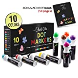 Washable Dot Markers for Kids with Free Activity Book | Large 10 Colors Set | Water-Based Non Toxic Paint Daubers | Dab Marker Kit for Toddlers & Preschoolers | Fun Art Supplies by Chalkola: more info