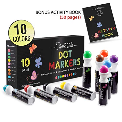Washable Dot Markers for Kids with Free Activity Book | Large 10 Colors Set | Water-Based Non Toxic Paint Daubers | Dab Marker Kit for Toddlers & Preschoolers | Fun Art Supplies by Chalkola ()