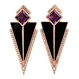 Sterling Silver Triangle Dangle Earrings Amethyst & White Topaz Art Deco Enamel Jewelry