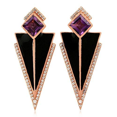 Sterling Silver Triangle Dangle Earrings Amethyst & White Topaz Art Deco Enamel Jewelry by Mettlle