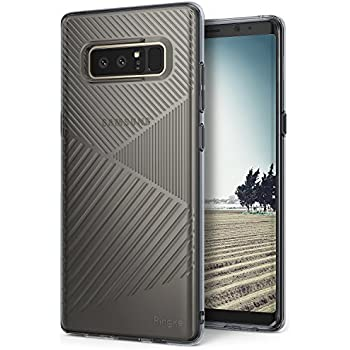Samsung Galaxy Note 8 Phone Case Ringke [BEVEL] Minimalist Diagonal Textured Shock Absorption TPU Form Fitting Lightweight Drop Resistant Protection Design Protective Cover for Note8 - Smoke Black