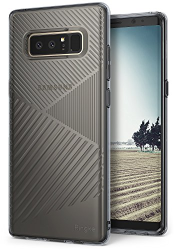Samsung Galaxy Note 8 Phone Case Ringke [BEVEL] Grip Enhanced Diagonal Line Pattern TPU Form Fitting Drop Resistant Defense Minimal Design Qi Wireless Charging Compatible Cover for Note8 - Smoke Black
