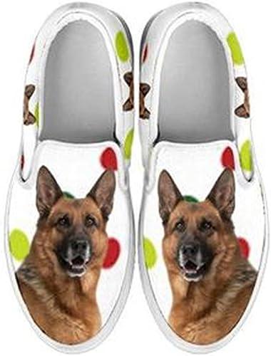German Shepherd Print Slip Ons Shoes