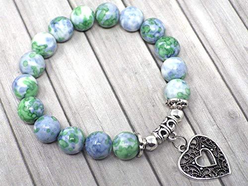 Pulsera de mujer en cuentas de jade con tinte azul y verde y ...