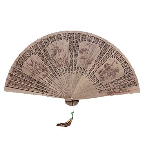 GWXLD Folding Fan - Chinese Style Bamboo Carving Hollow Summer Business Gift,915.7inches A