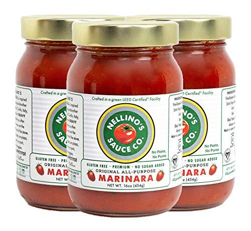 Nellino's (Pack of 3) All Purpose Marinara Sauce - Low Acidic, Keto, No Sugar Added, Certified Gluten Free, Certified Vegan, True Premium Homemade Flavor (16 oz)