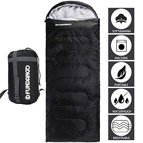 - FUNDANGO Sleeping Bag Adults/Kids Lightweight Rectangular/Mummy Compact Waterproof Portable Summer Cool Weather Season Sleeping Bags for Camping Backpacking Hiking Extreme 4℃/39.2℉ (Black-220x75cm)
