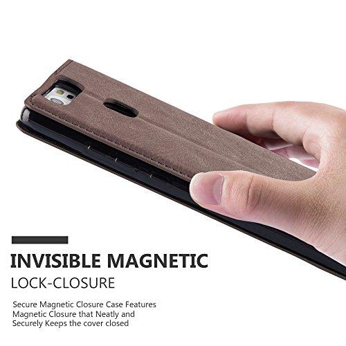 Cadorabo - Funda Book Style Cuero Sintético en Diseño Libro Huawei P9 - Etui Case Cover Carcasa Caja Protección con Imán Invisible en NEGRO-ANTRACITA MARRÓN-CAFÉ