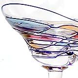 Set Of Four (4) - Romanian Crystal Barware - Cobalt Blue Swirl/Stained Glass Pattern - Milano Design - 8 Oz Margarita Glassware